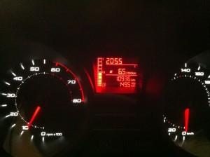 Multifunktionsanzeige beim Seat Ibiza 6J (Anzeige: Durchschnittsverbrauch)